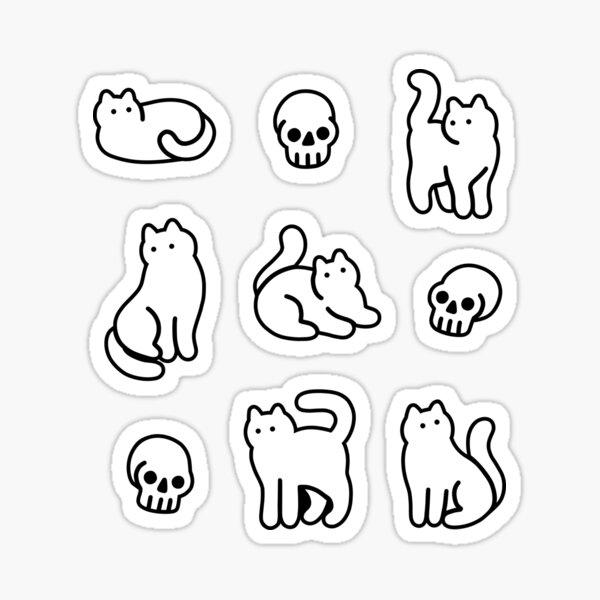 Cats and Skulls Pattern Sticker