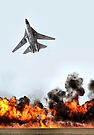 F111 with Fire, Adelaide Air Show  by Carole-Anne