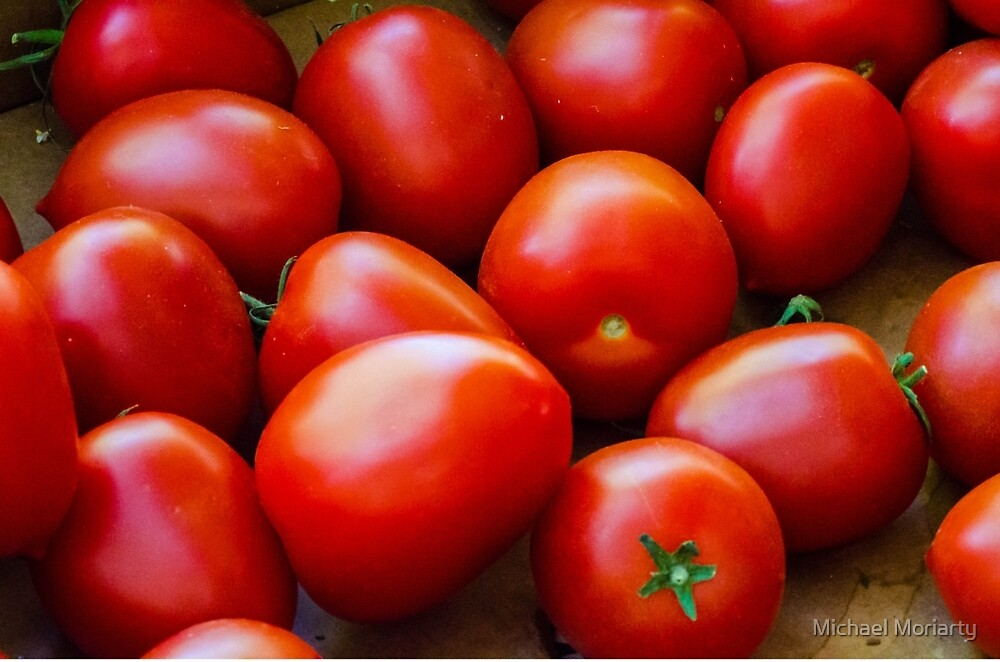 Organic Vibrant Red Tomatoes by Michael Moriarty