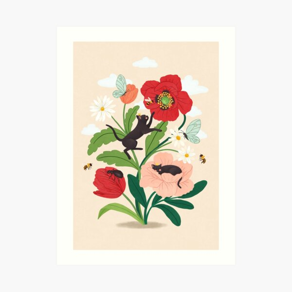Tiny cats with flowers Art Print