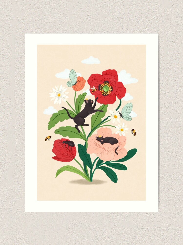 Alternate view of Tiny cats with flowers Art Print