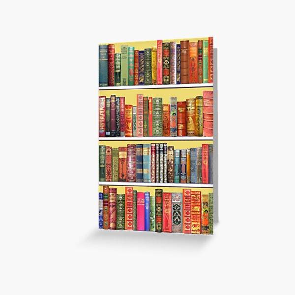 Christmas books, christmas library,  Vintage Bookshelf on yellow Greeting Card