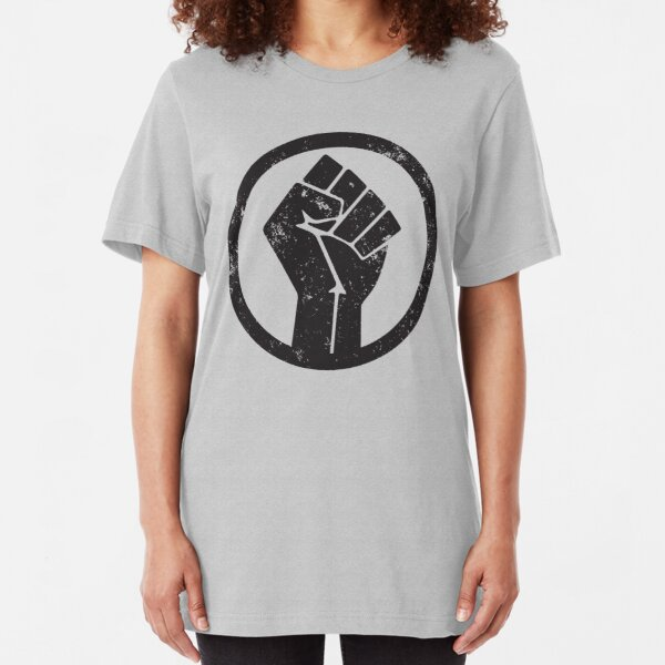 BLACK POWER RAISED FIST Slim Fit T-Shirt