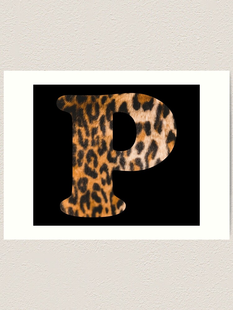 Alternate view of Letter P leopard print Art Print