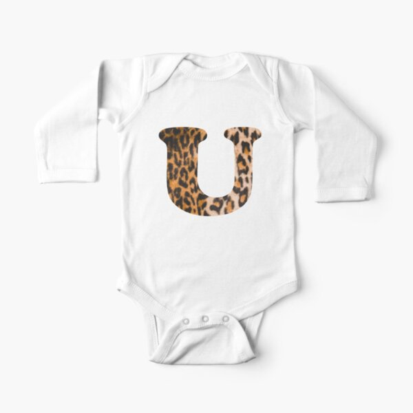Letter U leopard print Long Sleeve Baby One-Piece