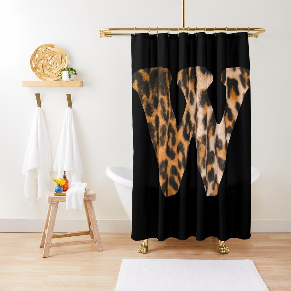 Letter W leopard print Shower Curtain