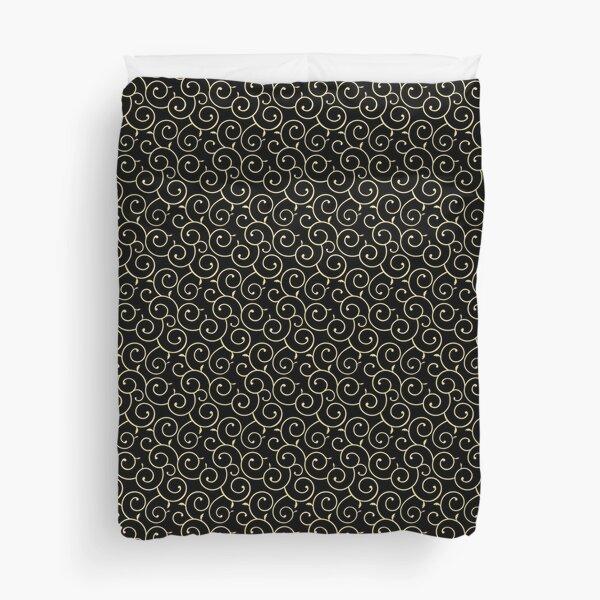 Japanese Karakusa Pattern - Black Gold Duvet Cover