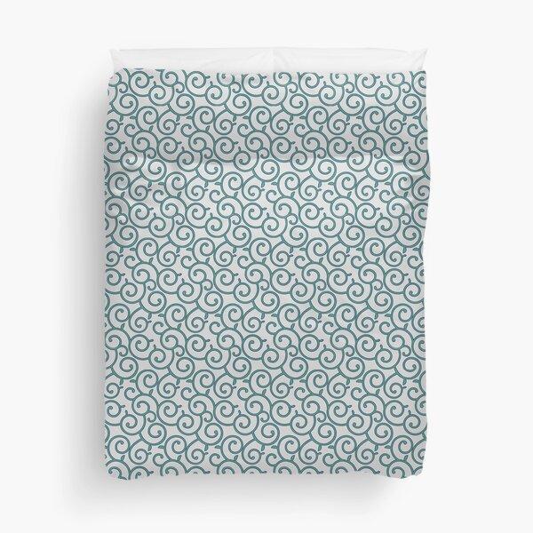 Japanese Karakusa Pattern - Green White Duvet Cover