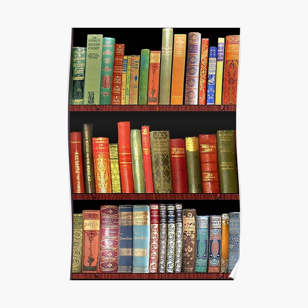 Bookworm Antique book library, vintage book shelf Poster