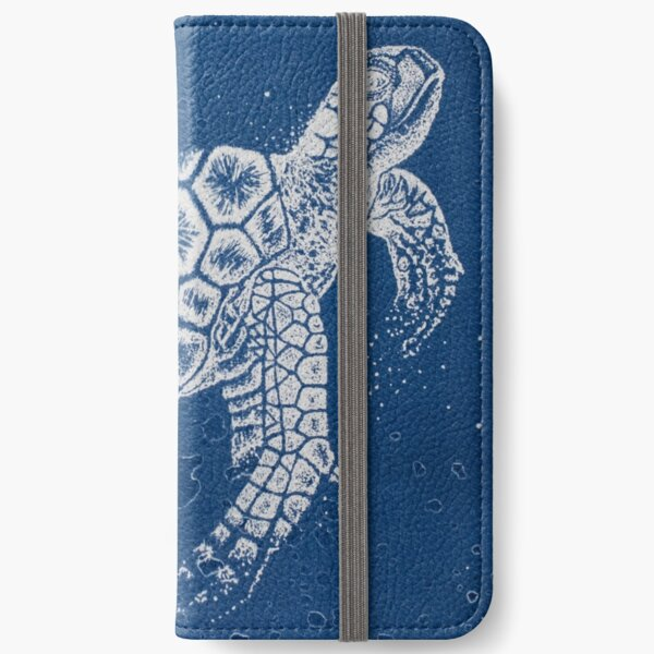 cyanotype dotwork illustration of a sea turtle iPhone Wallet
