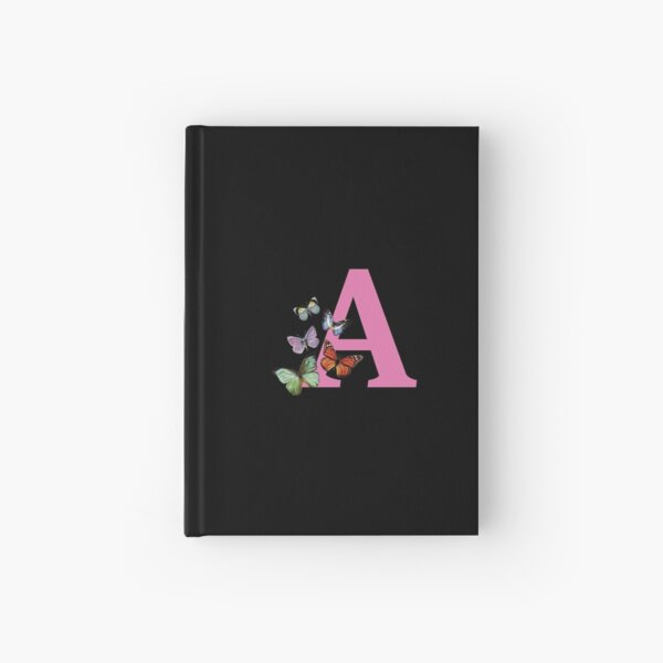Letter pink A with colorful butterflies Hardcover Journal