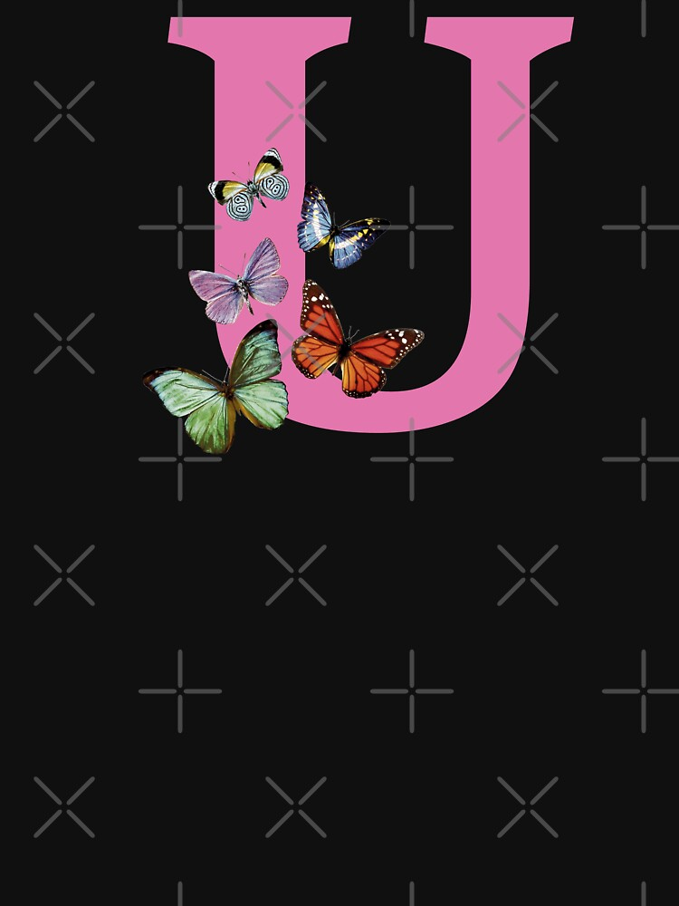 Letter pink U with colorful butterflies by ColorsHappiness