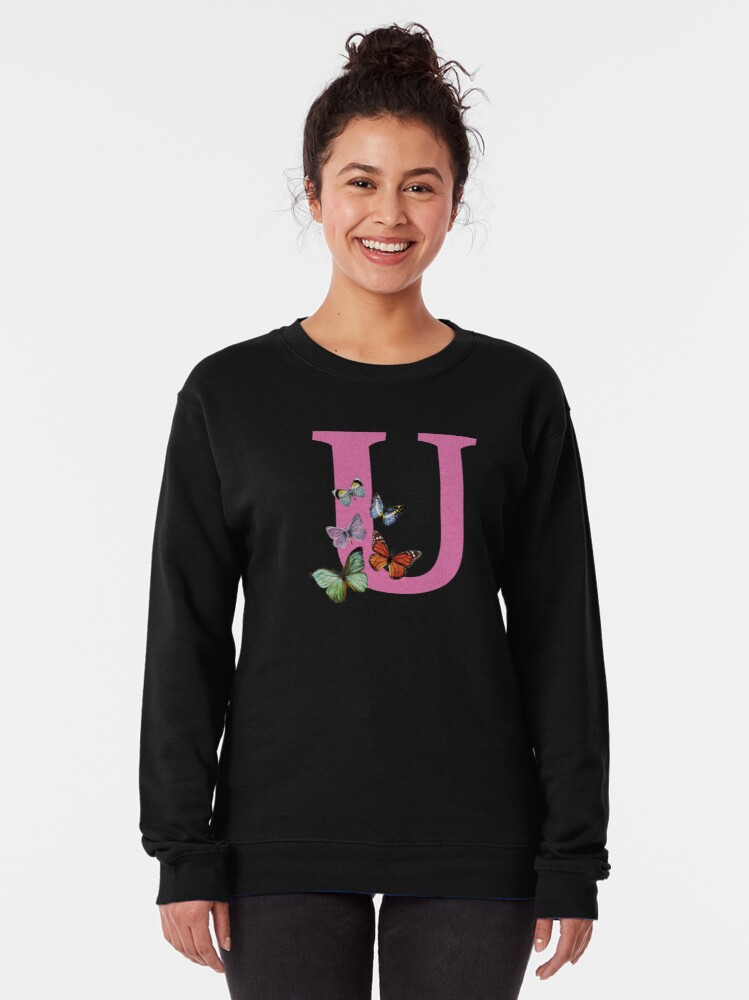 Alternate view of Letter pink U with colorful butterflies Pullover Sweatshirt