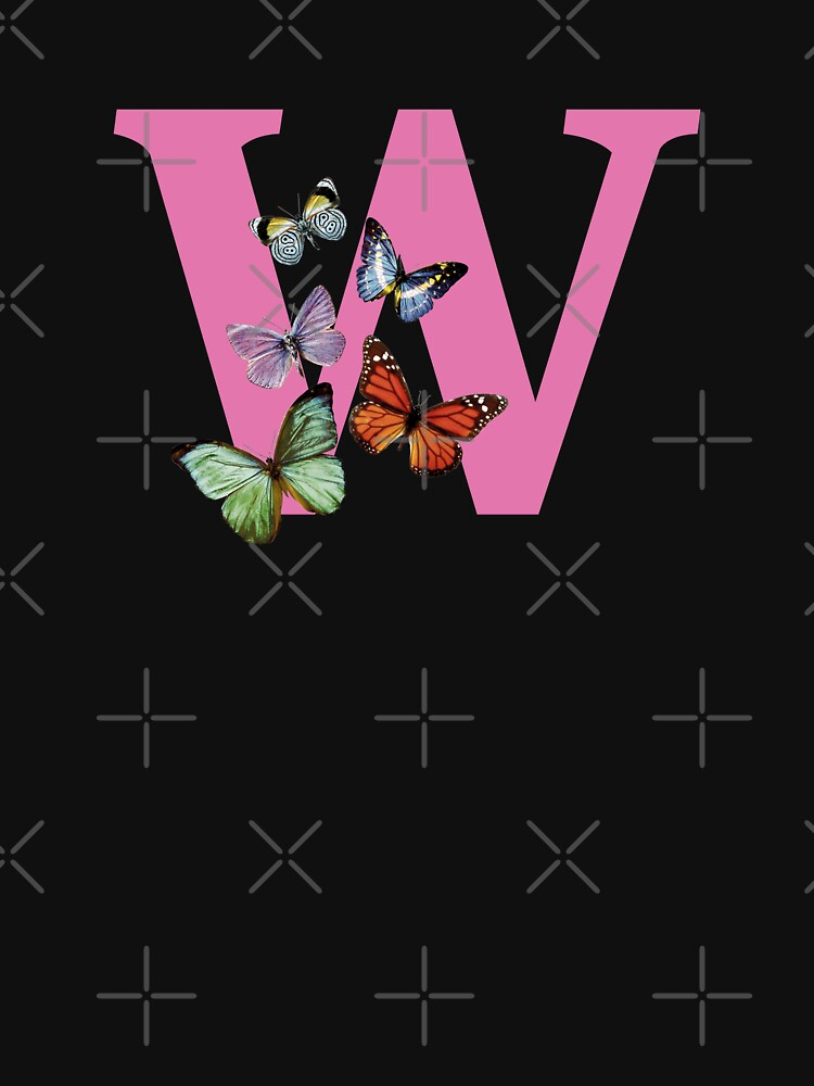 Letter pink W with colorful butterflies by ColorsHappiness