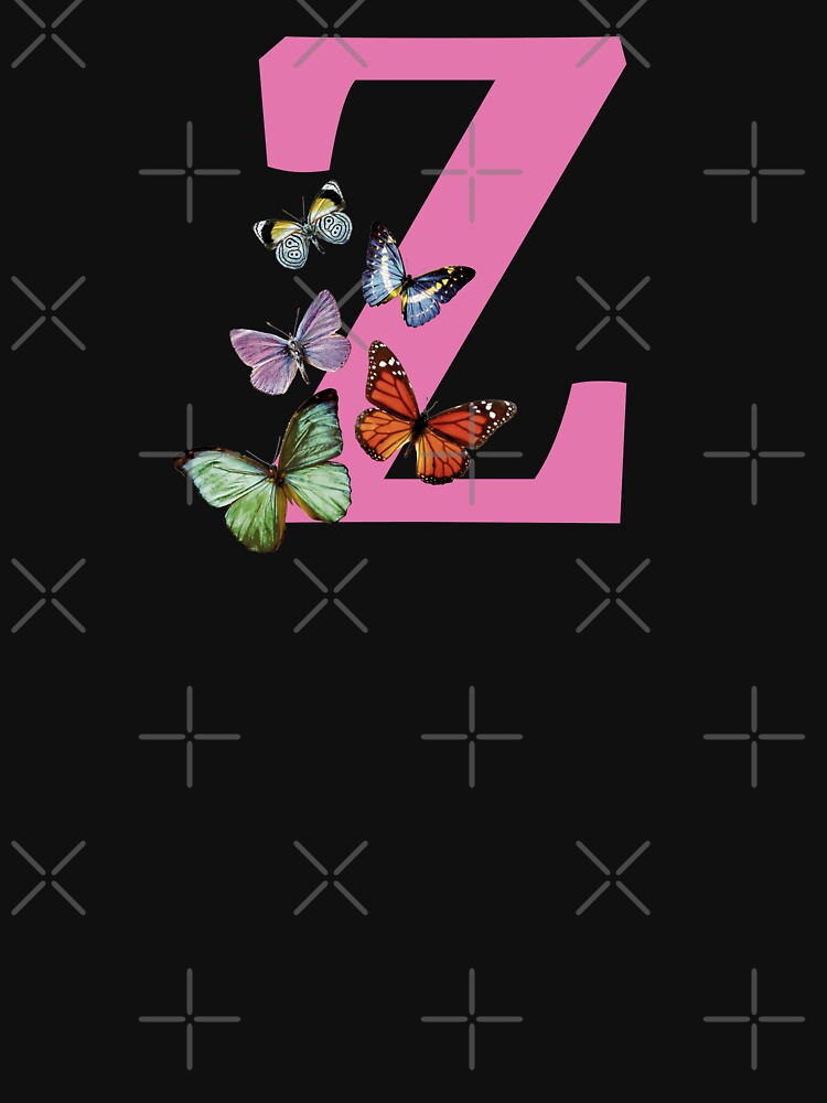 Letter pink Z with colorful butterflies by ColorsHappiness
