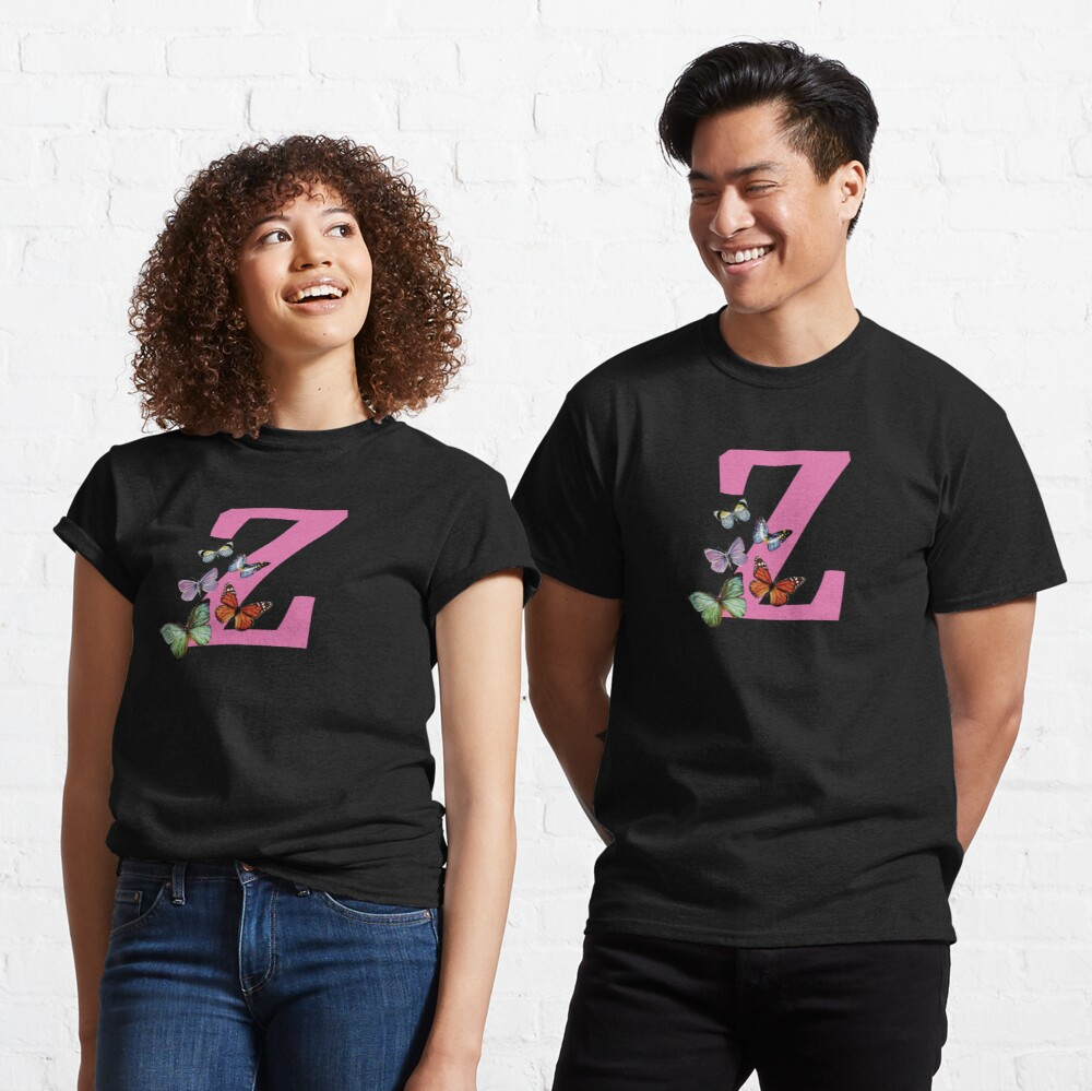 Letter pink Z with colorful butterflies Classic T-Shirt