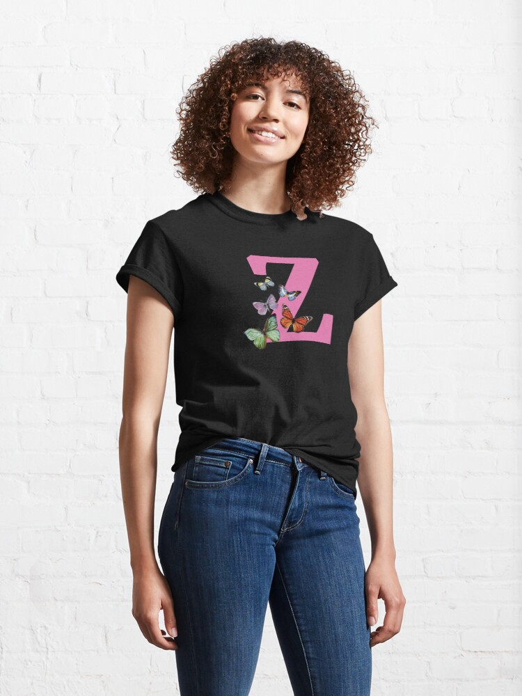 Alternate view of Letter pink Z with colorful butterflies Classic T-Shirt