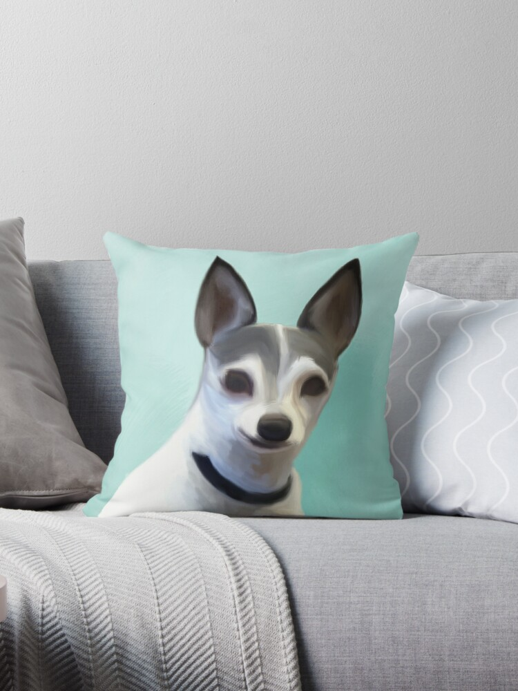 Toy Fox Terrier Throw Pillow By Christie Cudia Redbubble