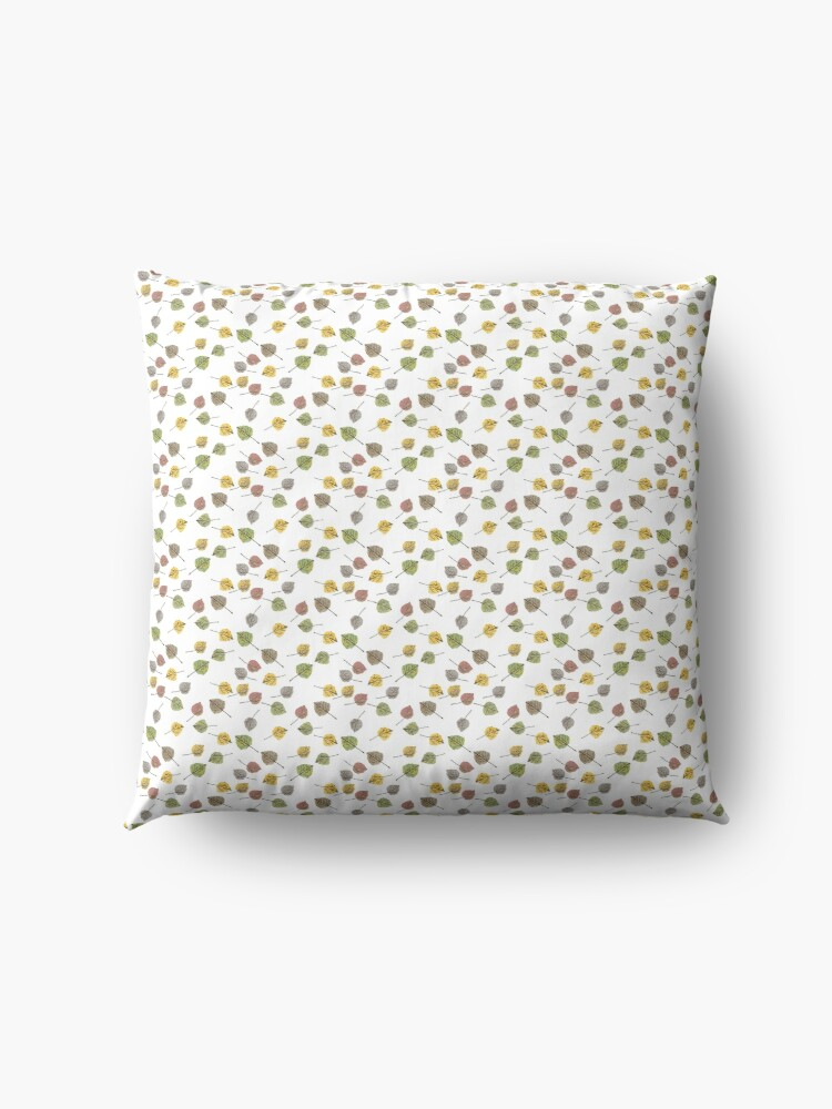 Alternate view of Small Colorado Aspen Tree Leaves Hand-painted Watercolors in Golden Autumn Shades on Clear Floor Pillow