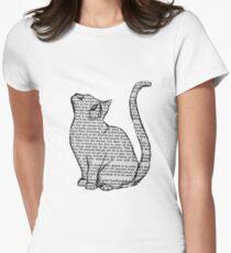 Camiseta entallada libros y gatos y libros y gatos