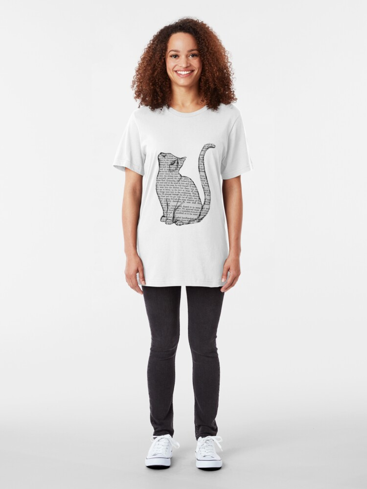 Alternate view of books and cats and books and cats Slim Fit T-Shirt