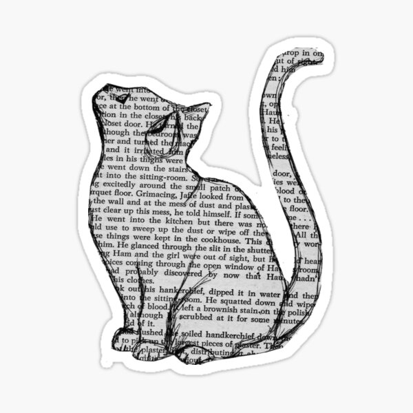 books and cats and books and cats Sticker