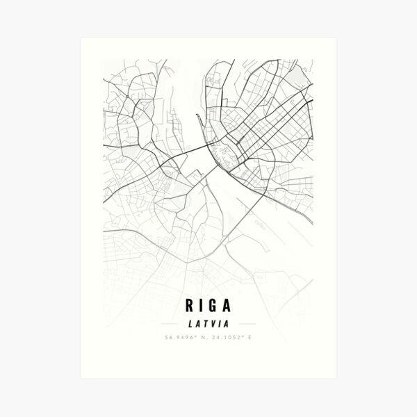 Riga Map Print with Coordinates Art Print