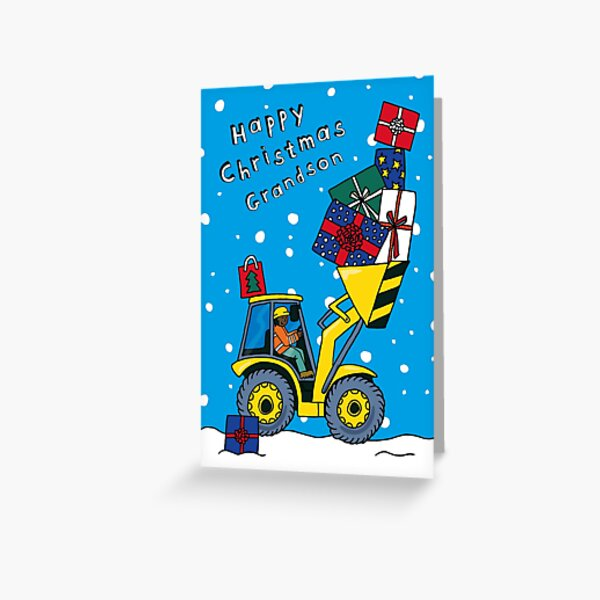 Grandson - Christmas Digger Card - 3 skin tones available! Greeting Card