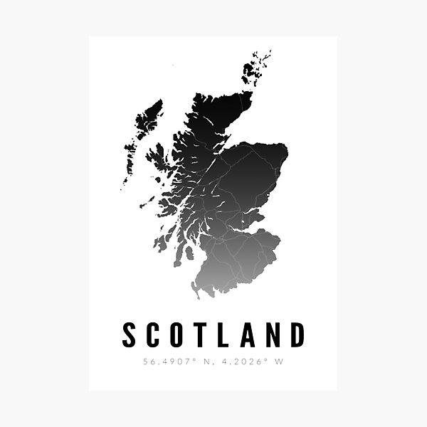 Monochrome Scotland Map Print Photographic Print