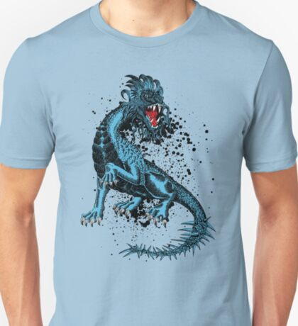 Angry Blue Dragon With Spiked Tail T-Shirt