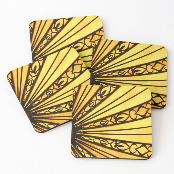 Yellow and Black Abstract Radial Sunburst Pattern Photograph Coasters (Set of 4)