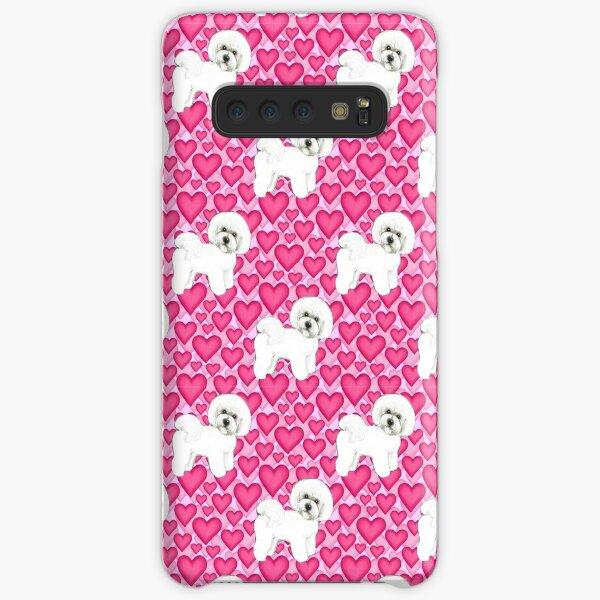 Bichon Frise Valentines Day Love hearts in pink Samsung Galaxy Snap Case