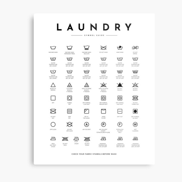 Laundry Sign Symbols Guide Care Metal Print