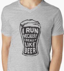 I run because I really like beer Men's V-Neck T-Shirt