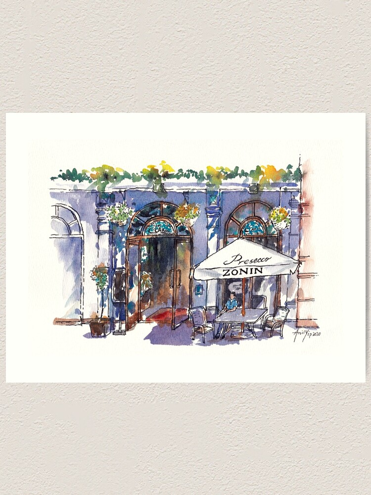 Alternate view of Sunny Afternoon at an Outdoor Cafe Art Print
