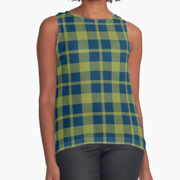 Yellow dark blue plaid  Sleeveless Top