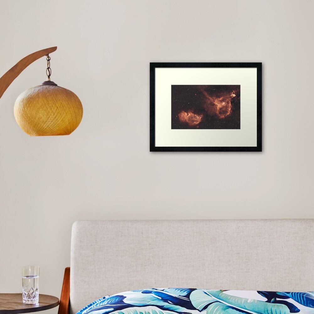 Heart & Soul Nebulae (IC1805 & IC1848) Framed Art Print