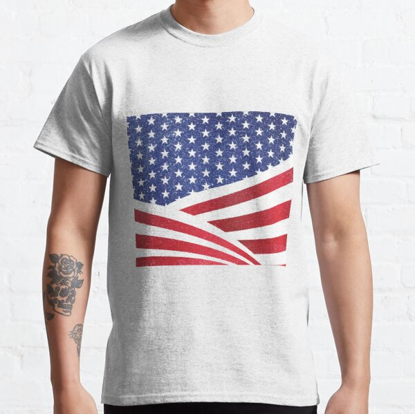 Glitter n Sparkle American Flag Fourth of July Independence Day Pattern Print Classic T-Shirt