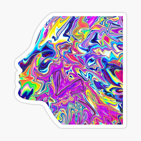 Psychedelic Art, Holographic painting of Women face Sticker