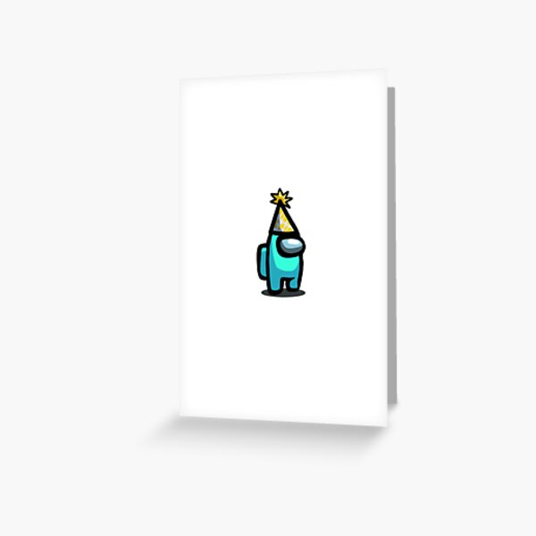 Cyan Among Us Character with Birthday Hat Greeting Card