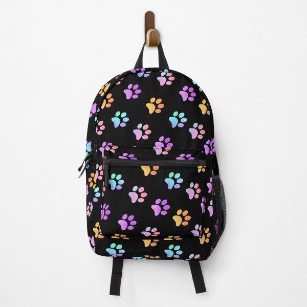 Blue Orange Galaxy Paw Prints Backpack