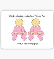 Twin girls naming day congratulations. Sticker