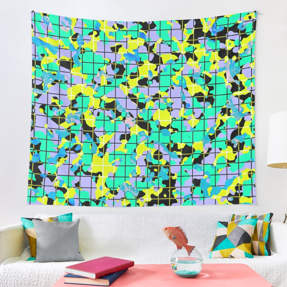 Eclectic Art Deco Camouflage Decorative Artwork Tapestry by Pamela Arsena