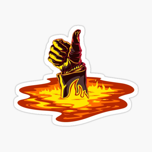 Terminator's hand on fire Sticker