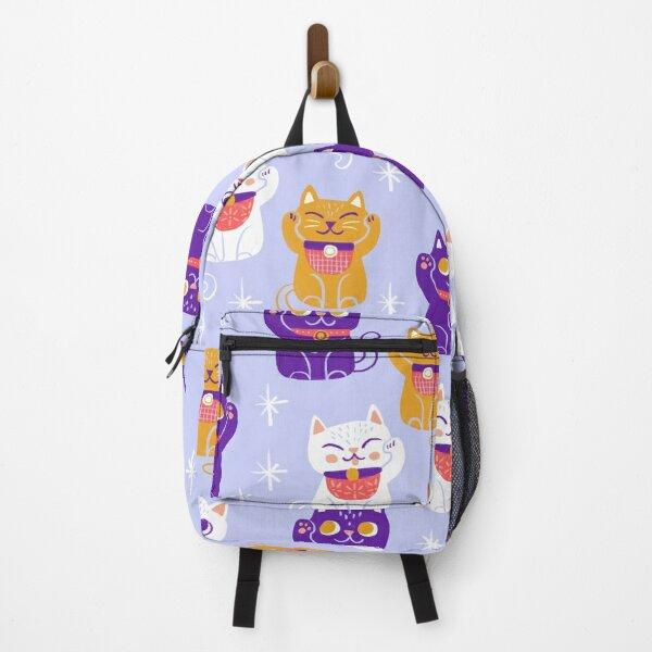 Lucky Kitty Cats Maneki-Neko Waving Beckoning Cat Backpack