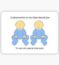 Twin Boys Baby Naming Ceremony Congratulations. Sticker