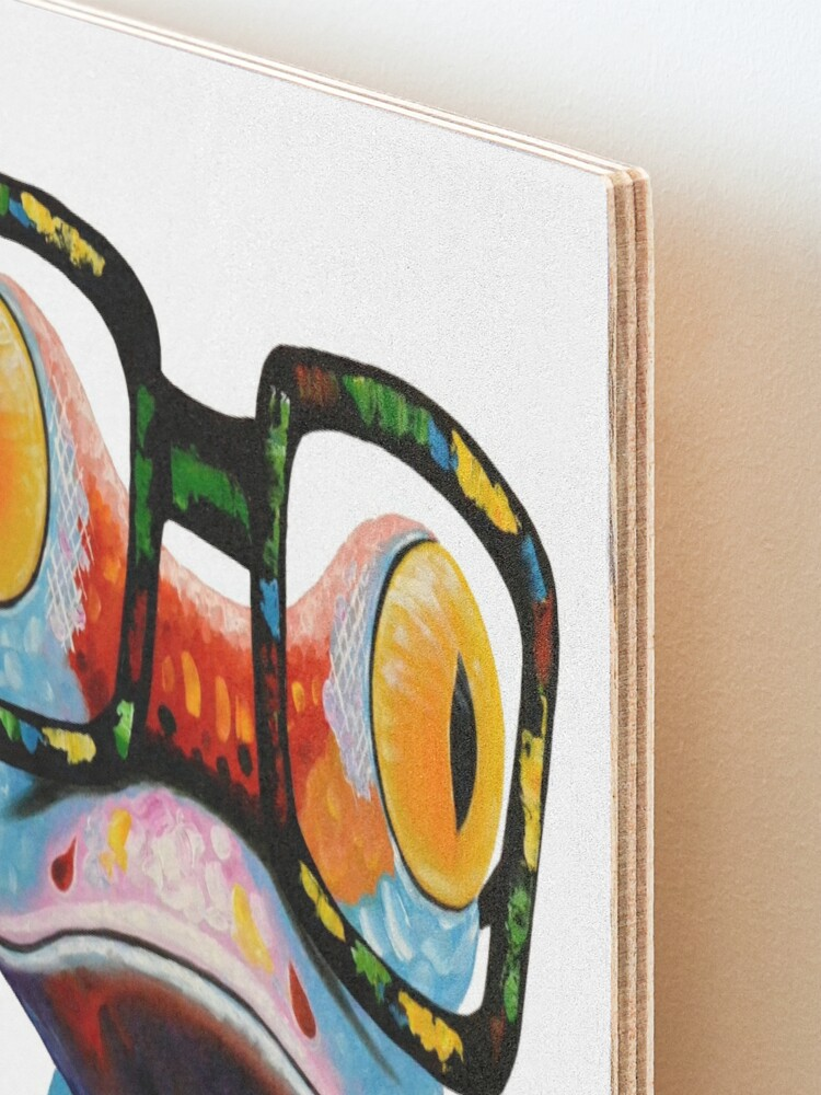 Alternate view of Hipster Frog Nerd Glasses Mounted Print