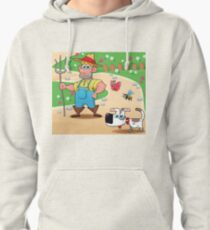 farmer and dog, animal farm Pullover Hoodie