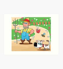 farmer and dog, animal farm Art Print