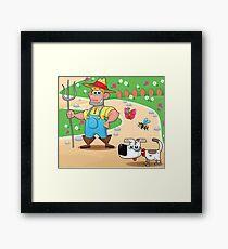 farmer and dog, animal farm Framed Print